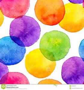 bright rainbow colors watercolor painted circles stock