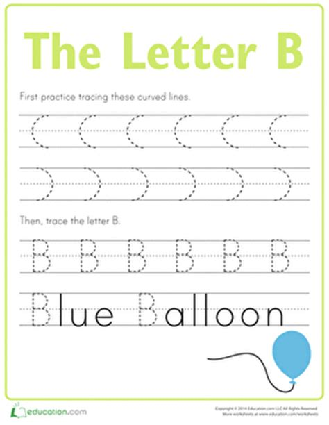 Letter B Tracing Practice Worksheet Education