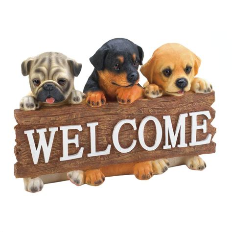 Animal Statues Home Decor Dog Welcome Plaque Wholesale At Koehler Home Decor