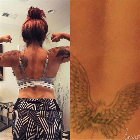 snooki nicole polizzi name wings lower back tattoo