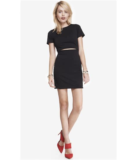 Who Wore It Better Cap Sleeve Mini Dress by Express Cap Sleeve Cutout Waist Mini Dress In Black Pitch