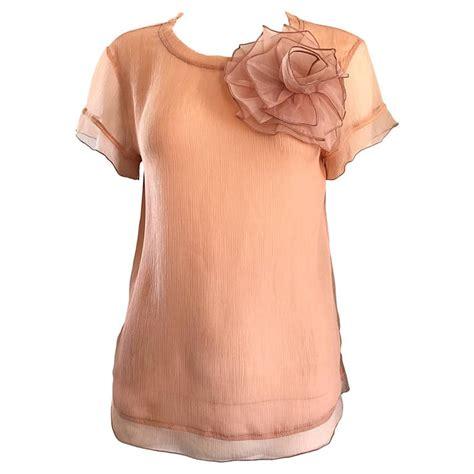 Marien Pink Blouse 1990s blumarine by molinari light pink chiffon semi sheer blouse top for sale at 1stdibs