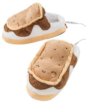 s mores usb heated plush slippers usb s mores footwarmers heated usb slippers that look