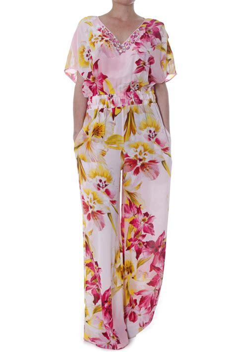 flower pattern jumpsuit vdp jumpsuit woman via delle perle beach in floral floral