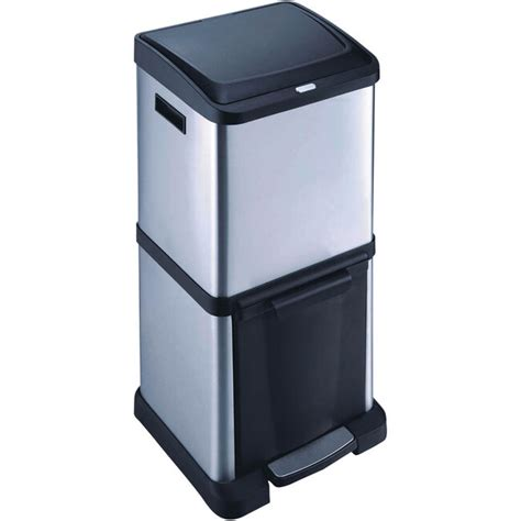 stacked stainless steel double recycle bin  home