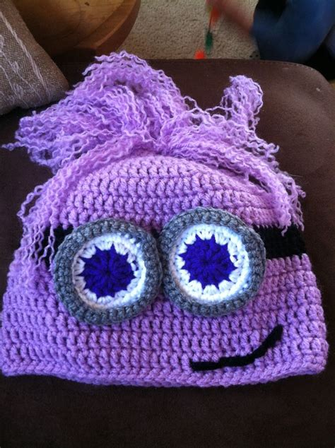 purple minion hat fleece too cute to be evil girly purple minion earflap hat on
