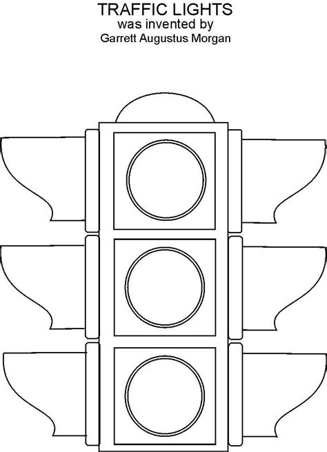 Traffic Lights Coloring Printable Light Template