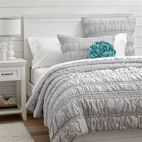 grey ruched comforter ruched quilt sham light gray pbteen