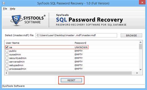 reset user data tool sql password recovery tool to reset sql server password