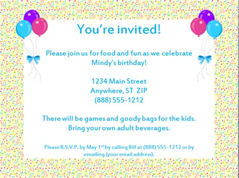 free birthday invitation templates to email birthday invitations wording new invitations