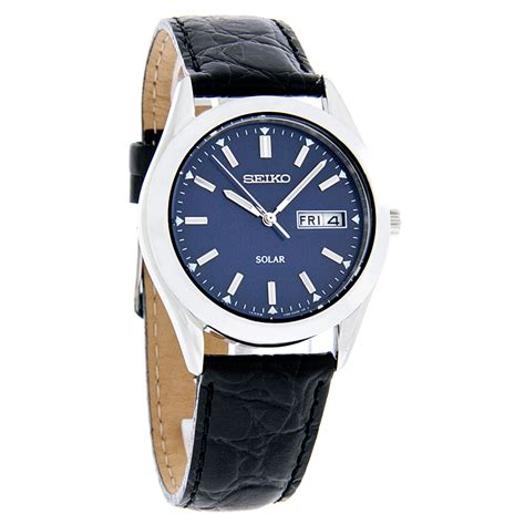 Seiko Date Day Black seiko solar quartz mens blue day date black leather band sne049 029665153548 ebay