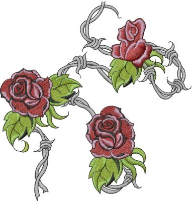 barbed wire with roses embroidery design annthegran