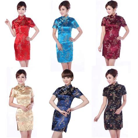 Obral Mini Dress pengiriman gratis perempuan naga menawan cheongsam malam mini dress