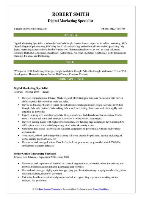 digital marketing resume sle pdf digital marketing resume cover letter
