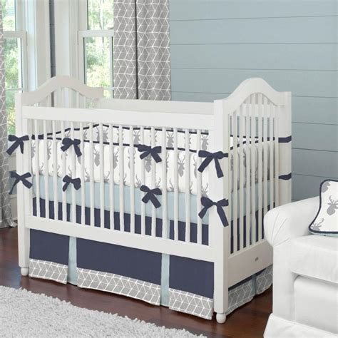 Infant Boy Crib Bedding Silver Gray Deer Crib Comforter Carousel Designs