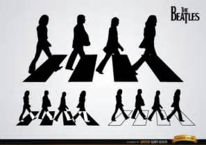 the beatles road silhouettes in black and white vector