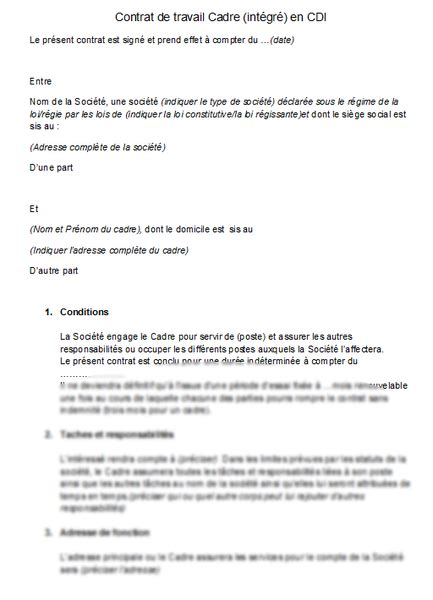 exemple contrat de travail cdi word document