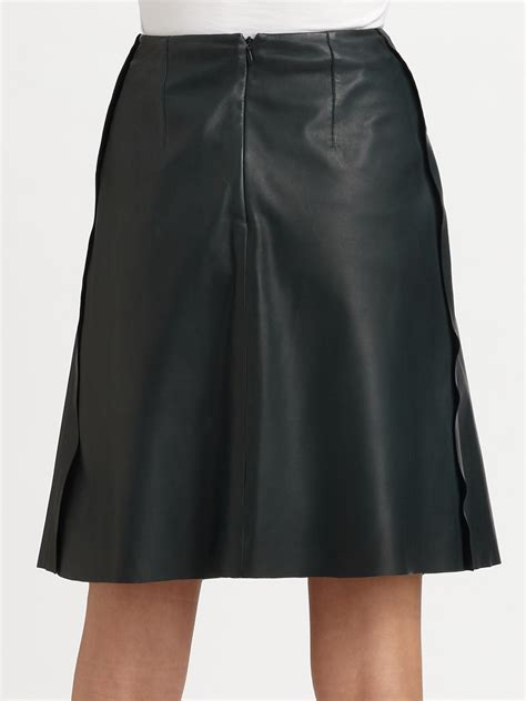 carven aline leather skirt in green lyst