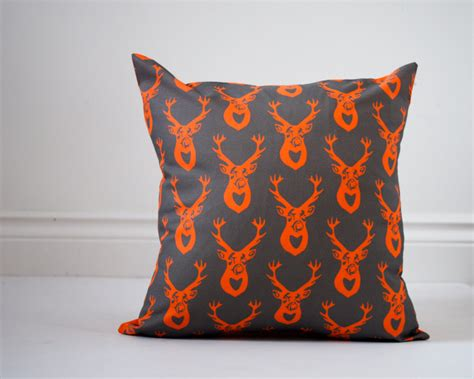deer pillow sham cover orange and gray antlers eco