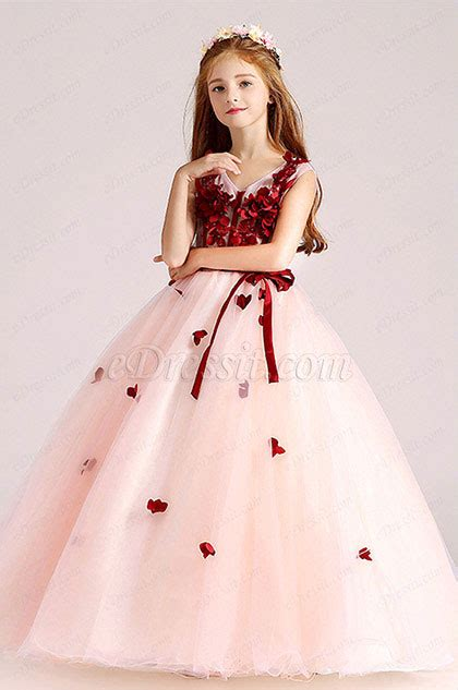 edressit redwhite children wedding flower girl dress