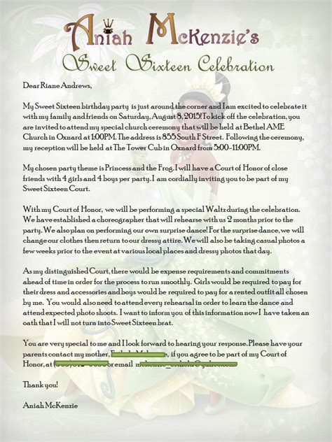 Sponsor Letter For Quince princess and the frog sweet 16 court of honor invite