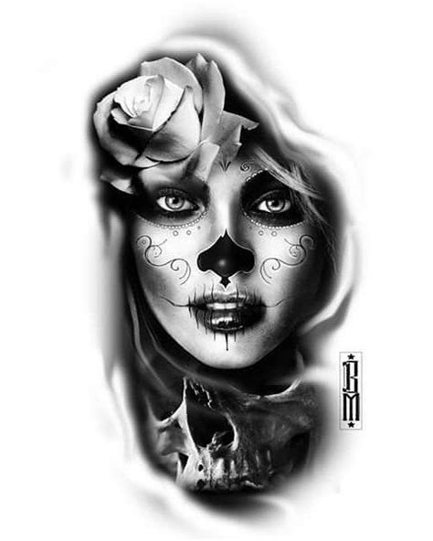 sugar face tattoo designs sugar skull muertos muerte womam