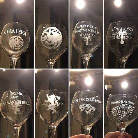 of thrones wine glasses no spoilers set of of thrones wine glasses i made as a gift gameofthrones