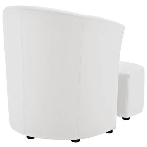 White Accent Chair With Ottoman Modway Divulge Faux Leather Accent Chair With Ottoman In White Eei 1407 Whi