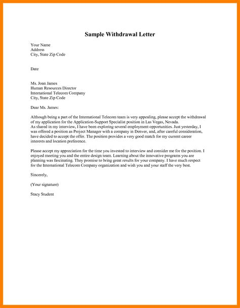 Sle Withdrawal Letter To letter of resignation accomplishments resume exles cms