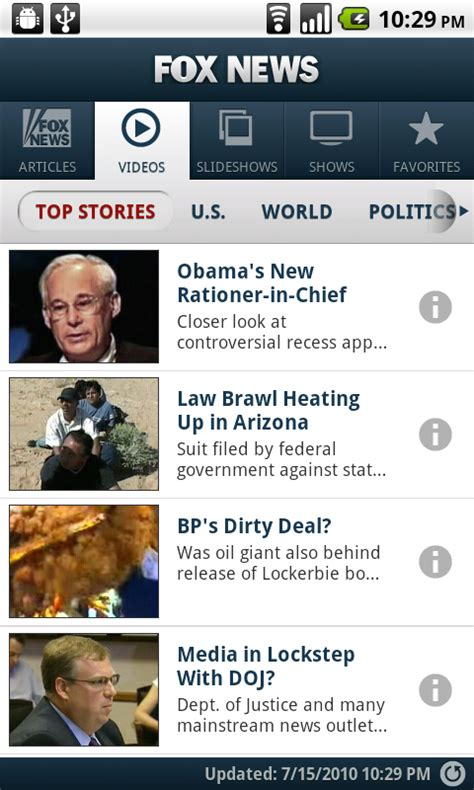 fox news app for android fox news arrives on the android market android app reviews android apps