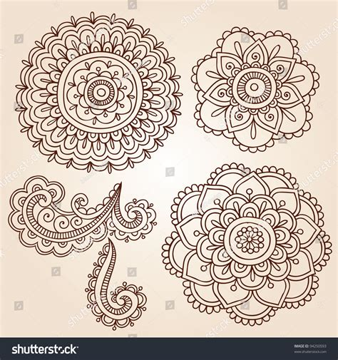 fiori indiani henna mehndi flower doodles abstract floral paisley design