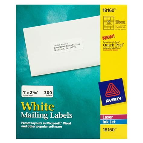 Avery 25718711 Address Labels Inkjet 1 X 2 5 8 10 Sheets Avery 1 5 X 1 5 Label Template