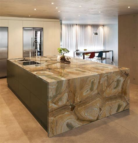stone kitchen island natural quartzite countertops
