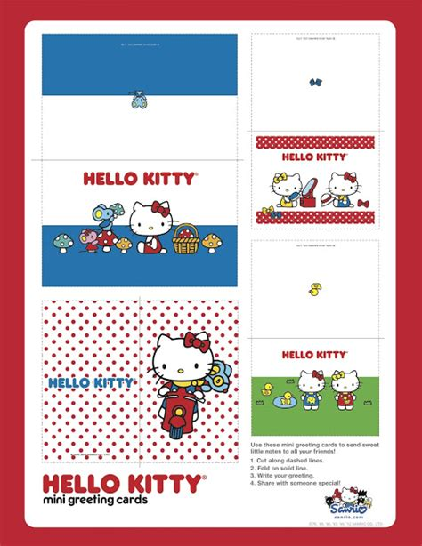 hello kitty printable greeting cards i love kawaii hello kitty mini greeting cards