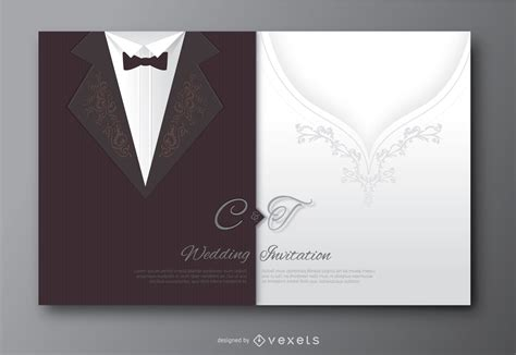wedding invitation from groom s wedding groom suit and s dress invitation vector