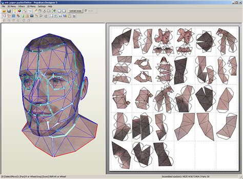 Papercraft Software - the texture with wireframe overlaid original texture was