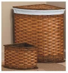 bamboo corner her and wastebasket set set of 4