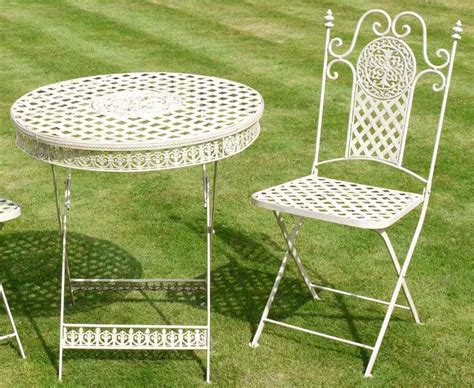 Antique White Wrought Iron 3 Piece Bistro Style Garden Vintage Wrought Iron Patio Furniture