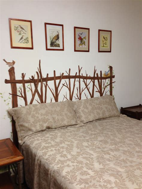 twig headboard painted on the wall the home