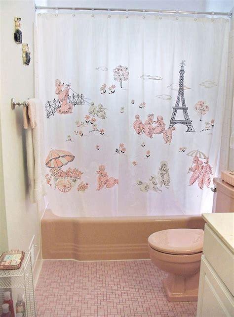pink paris shower curtain 1950 s paris poodle shower curtain paris fifties