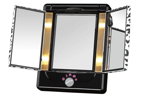 conair two sided makeup mirror with 4 light settings conair two sided lighted makeup mirror with 3 panels and 4