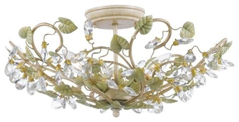 crystorama 3 light semi flush 4840 ct shabby chic style