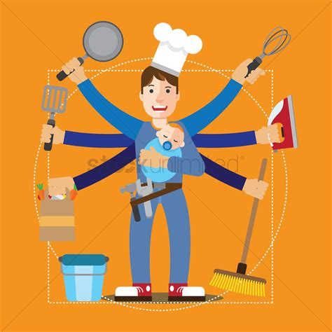 house husband house husband and his chores vector image 1741320 stockunlimited