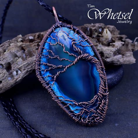how to make agate jewelry tree of wire wrapped necklace blue agate b 183 wire