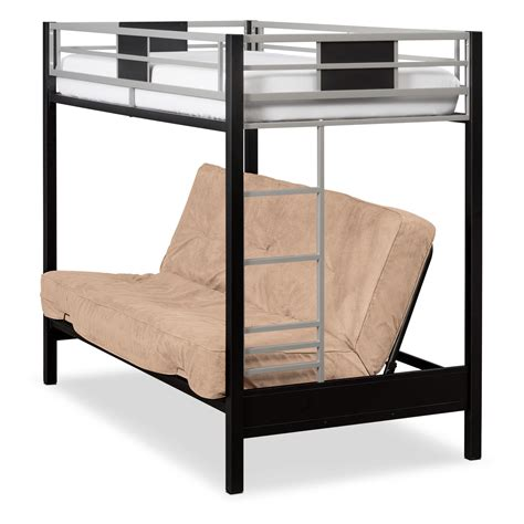 Black Futon Bunk Bed Samba Futon Bunkbed Matte Black American Signature Furniture