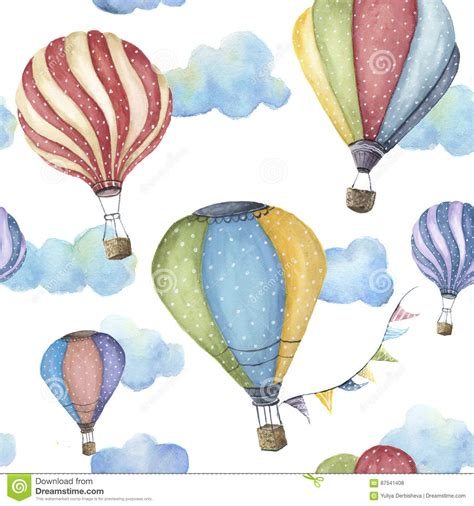 watercolor pattern with air balloons and clouds stock watercolor pattern with cartoon hot air balloon transport