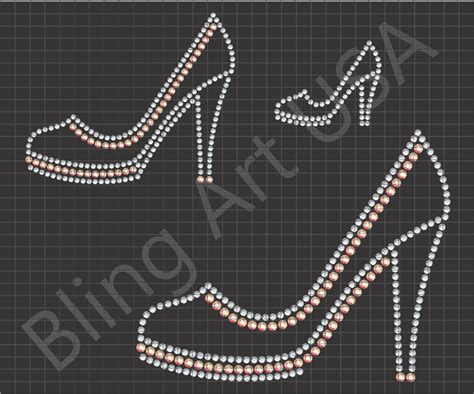 bling templates high heel rhinestone downloads files template dress shoes
