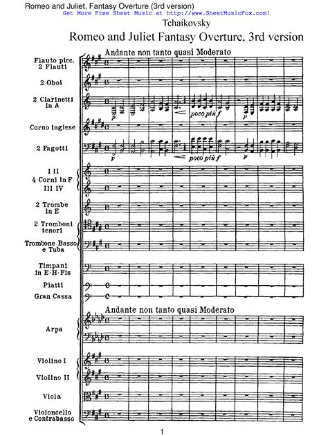 themes from romeo and juliet tchaikovsky free sheet music for romeo and juliet overture fantasia