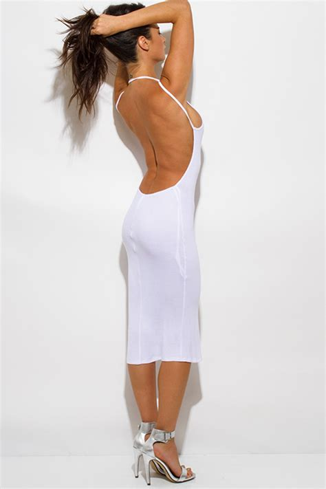 Dress D1988 shop wholesale womens white ribbed knit strappy halter