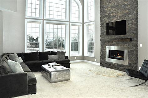 modern gas fireplace with stacked